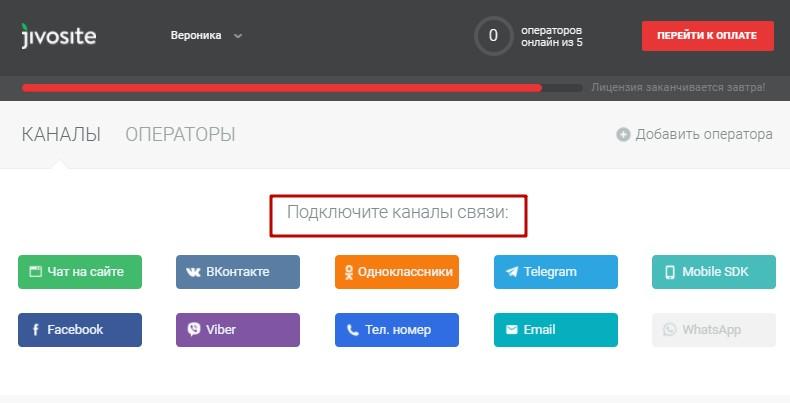 Добавление каналов связи в JivoSite