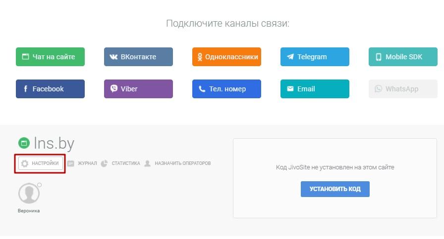 Настройки онлайн-чата JivoSite